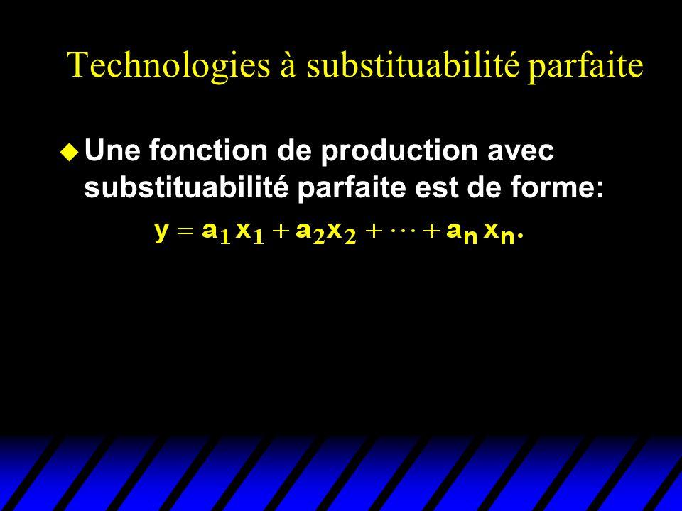 Technologies à substituabilité parfaite u Une fonction de production avec substituabilité parfaite est de forme: