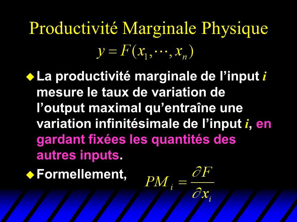 Productivité Marginale Physique La productivité marginale de linput i mesure le taux de variation de loutput maximal quentraîne une variation infinitésimale de linput i, en gardant fixées les quantités des autres inputs.