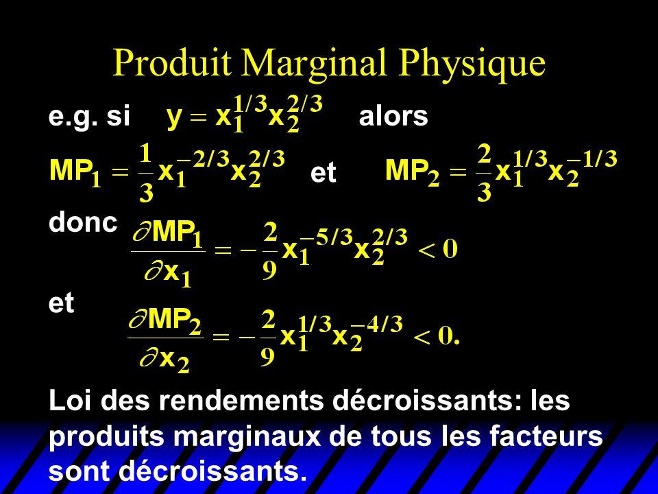 Produit Marginal Physique et donc et Loi des rendements décroissants: les produits marginaux de tous les facteurs sont décroissants.