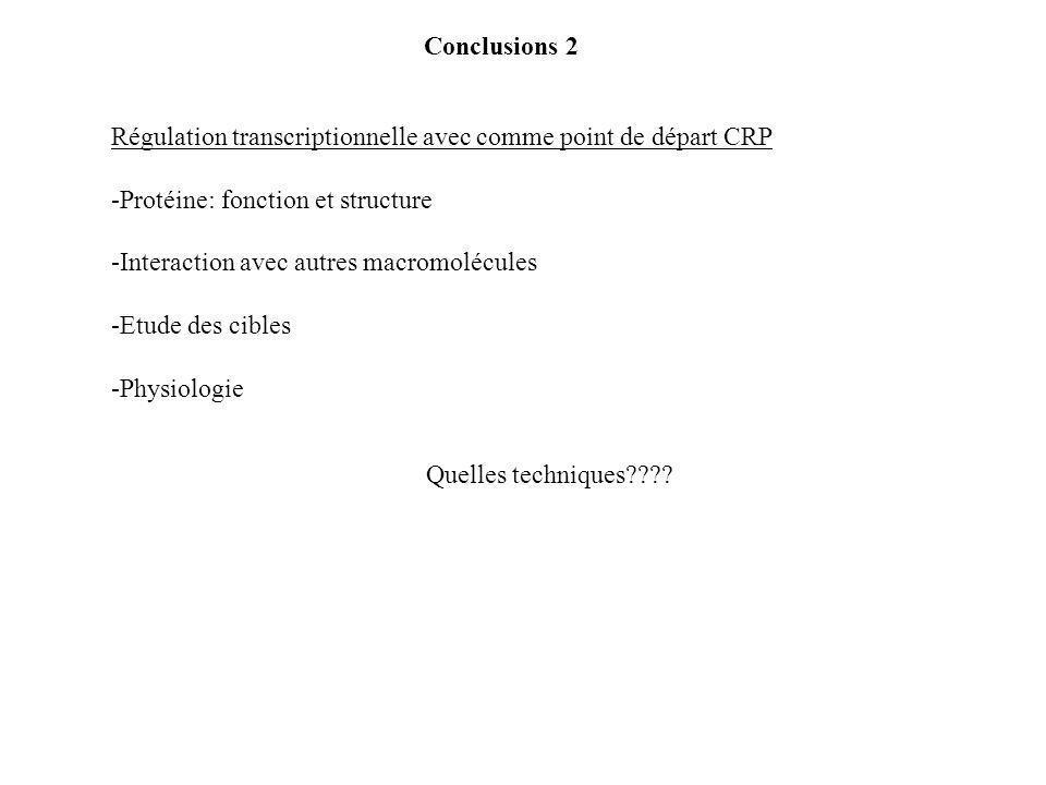 Conclusions 2 Régulation transcriptionnelle avec comme point de départ CRP -Protéine: fonction et structure -Interaction avec autres macromolécules -Etude des cibles -Physiologie Quelles techniques????