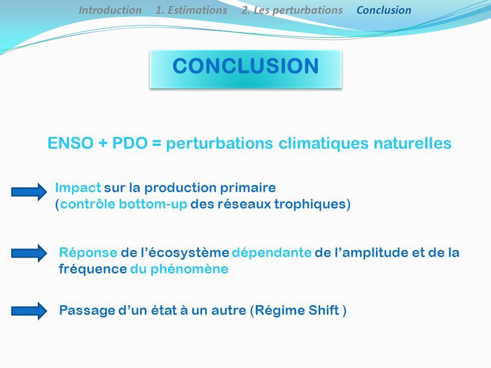 ENSO + PDO = perturbations climatiques naturelles Impact sur la production primaire (contrôle bottom-up des réseaux trophiques) Réponse de lécosystème