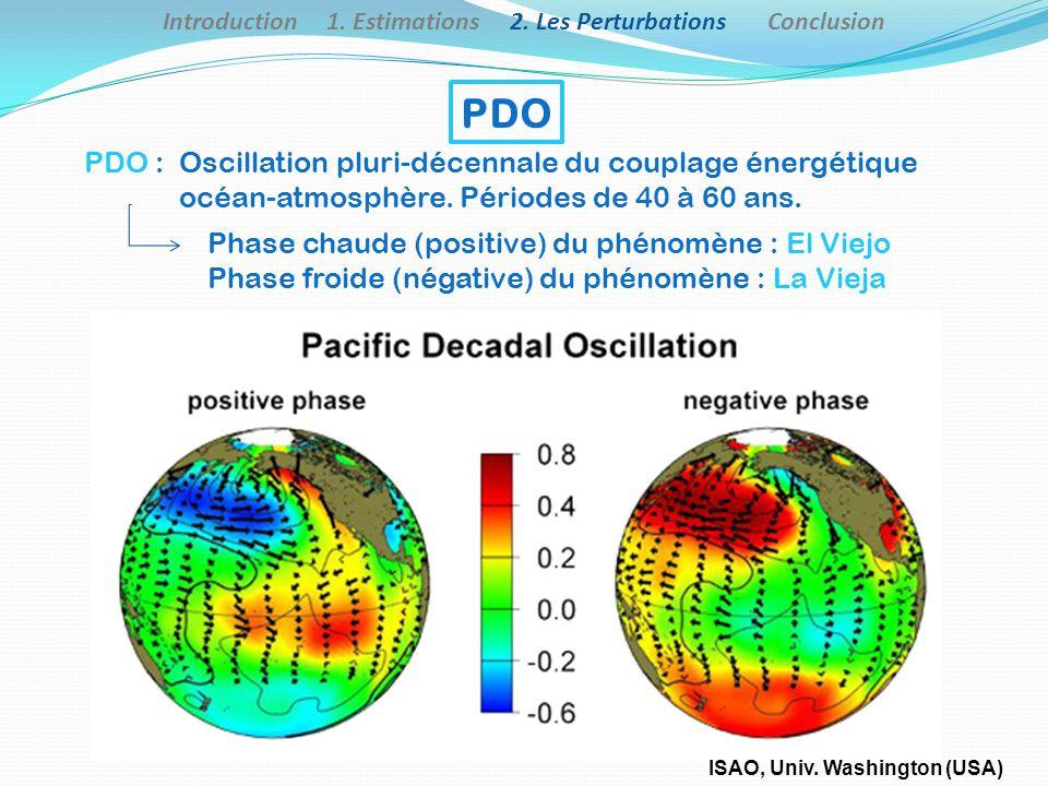 PDO : Oscillation pluri-décennale du couplage énergétique océan-atmosphère. Périodes de 40 à 60 ans. Phase chaude (positive) du phénomène : El Viejo P