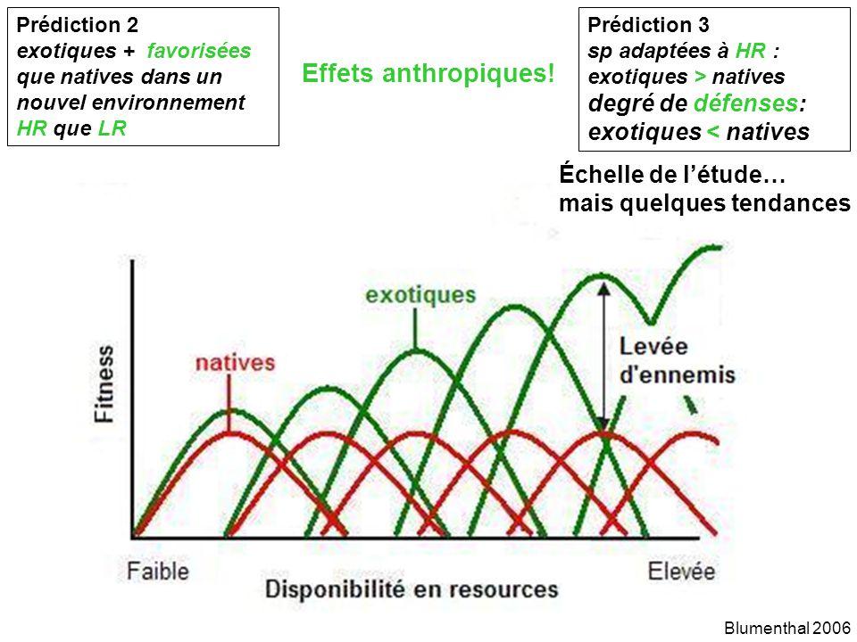 Prédiction 2 exotiques + favorisées que natives dans un nouvel environnement HR que LR Blumenthal 2006 Effets anthropiques.