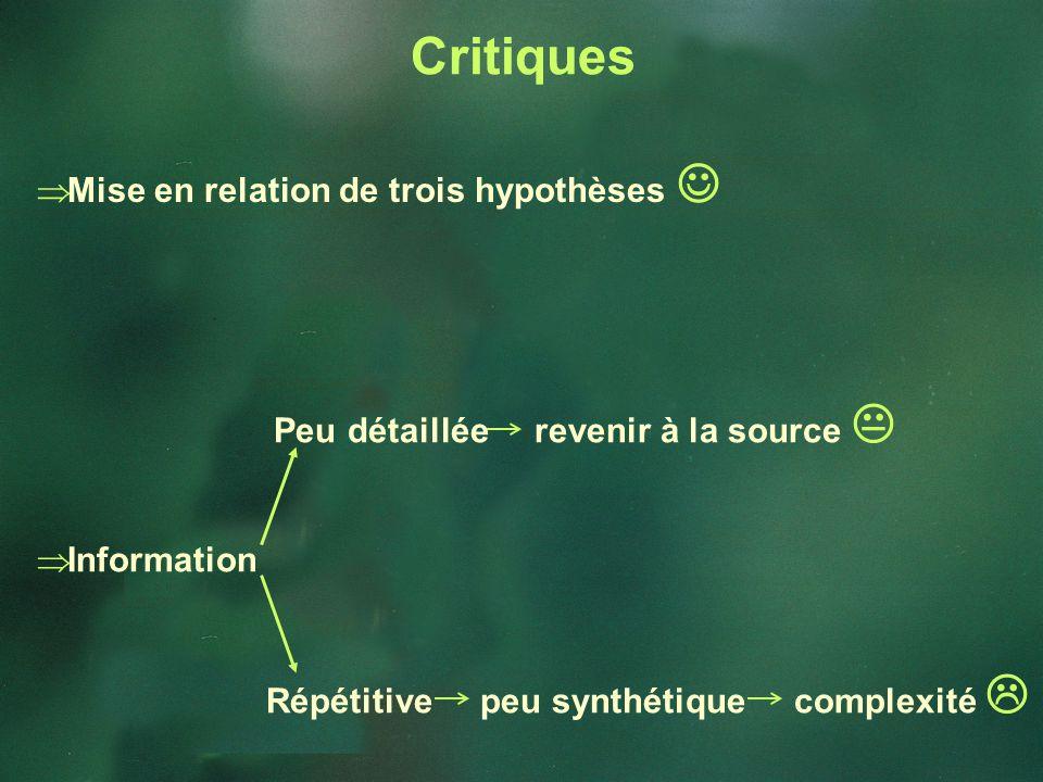 Mise en relation de trois hypothèses Peu détaillée revenir à la source Information Répétitive peu synthétique complexité Critiques