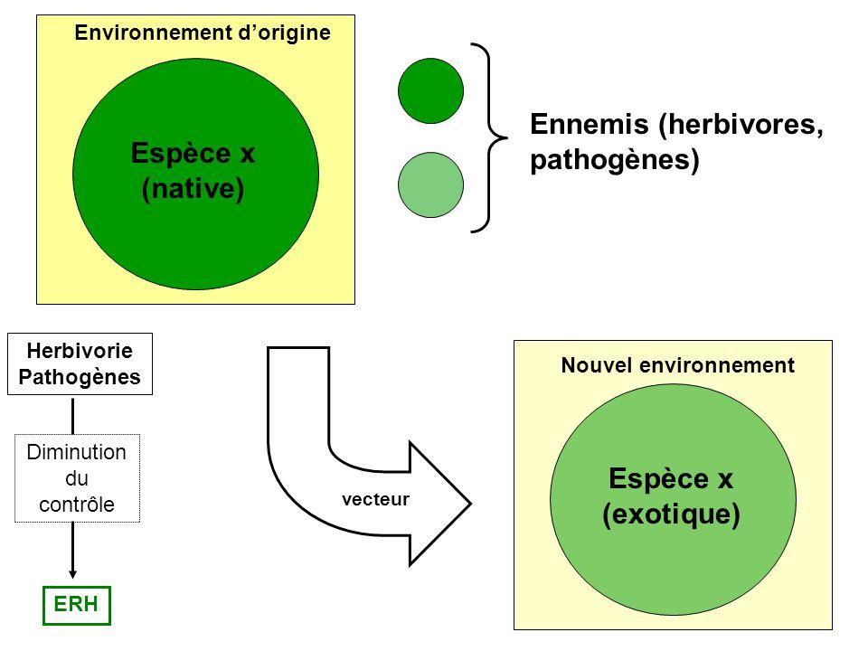 ERH Herbivorie Pathogènes Diminution du contrôle Espèce x (native) Environnement dorigine vecteur Espèce x (exotique) Nouvel environnement Ennemis (herbivores, pathogènes)