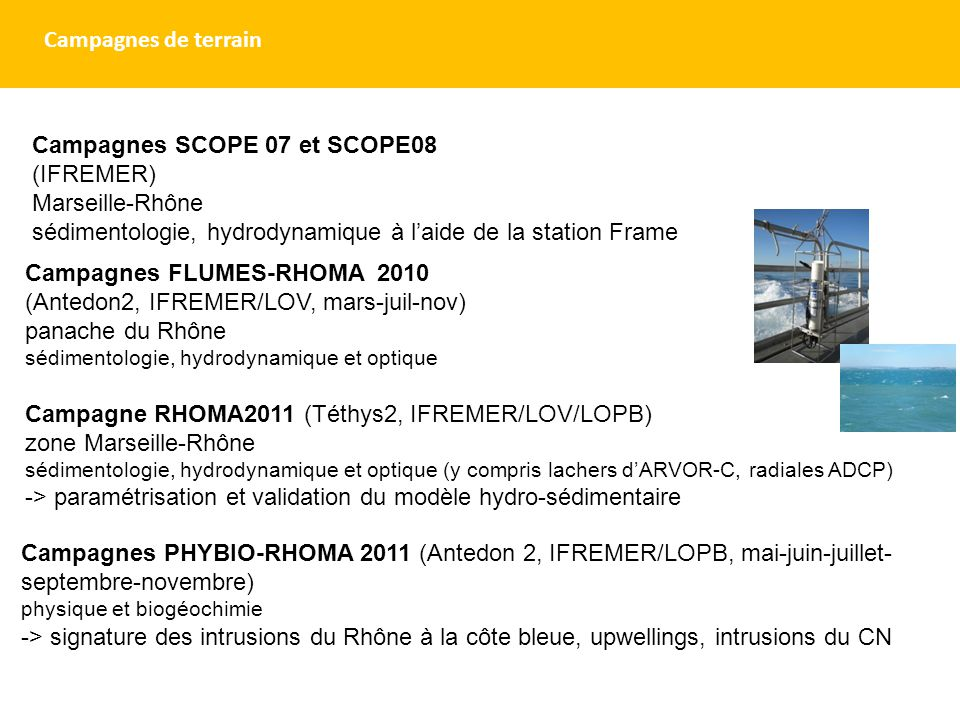 Campagnes FLUMES-RHOMA 2010 (Antedon2, IFREMER/LOV, mars-juil-nov) panache du Rhône sédimentologie, hydrodynamique et optique Campagne RHOMA2011 (Téth