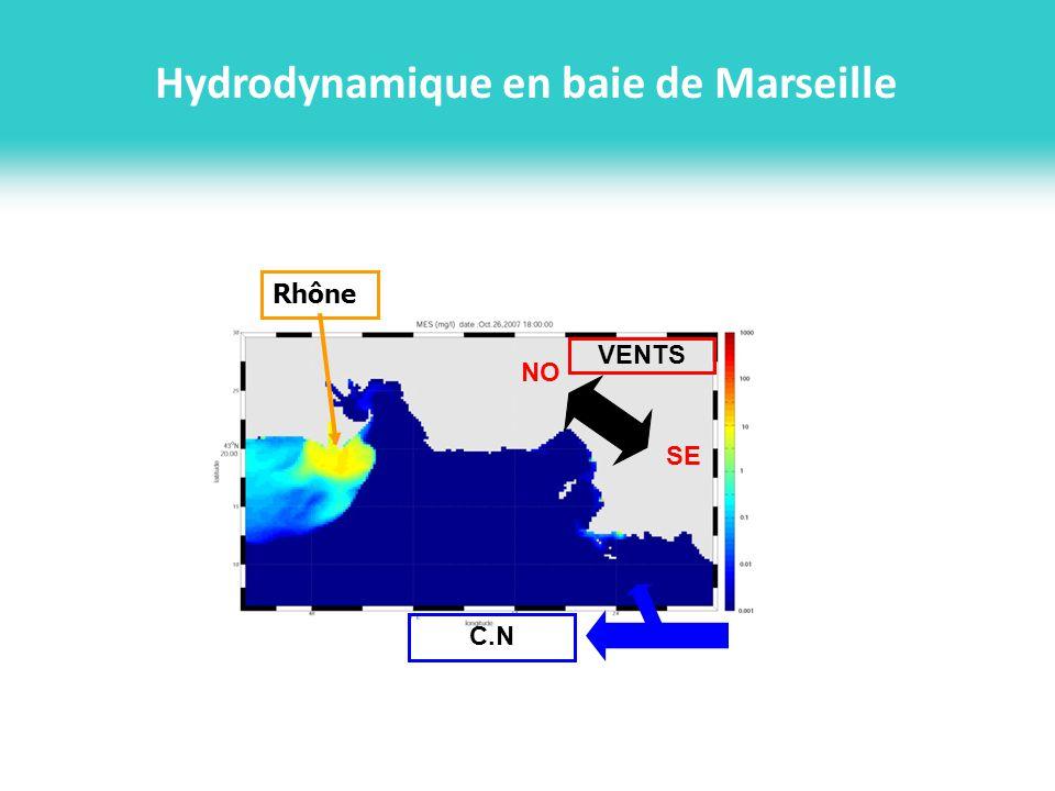 Modélisation hydrodynamique: les principaux processus de la zone Rhône-Marseille Température de surface SST Sat (NOAA-AVHRR) SST RHOMA Vent de N-NO Upwellings S RHOMA Chl-a MODIS 19/06/08 <36.5 Vent de NO tournant vers lO puis SE: panache -> Marseille Intrusion deau diluée du Rhône en rade de Marseille Section à 47m de profondeur le 21/10/07 RHOMA MENOR Intrusion du Courant Nord ADCP Tethys MENOR GEOMASTER Instabilités du Courant Nord -> intrusion (période simulée: 2007-2008 [Pairaud et al., 2011], 2009-2011 en cours)