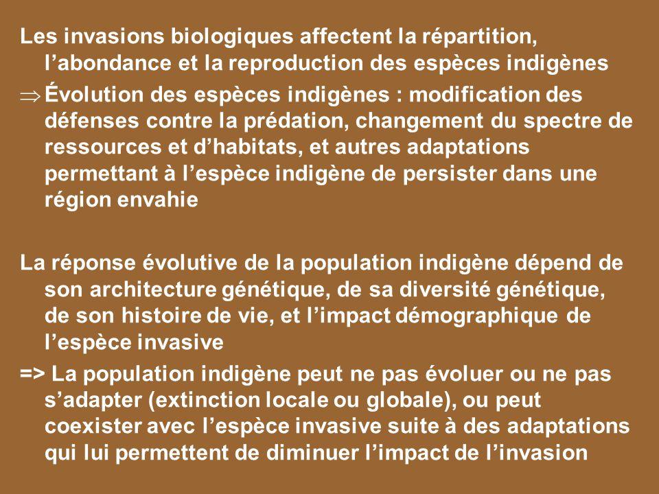 Les invasions biologiques affectent la répartition, labondance et la reproduction des espèces indigènes Évolution des espèces indigènes : modification