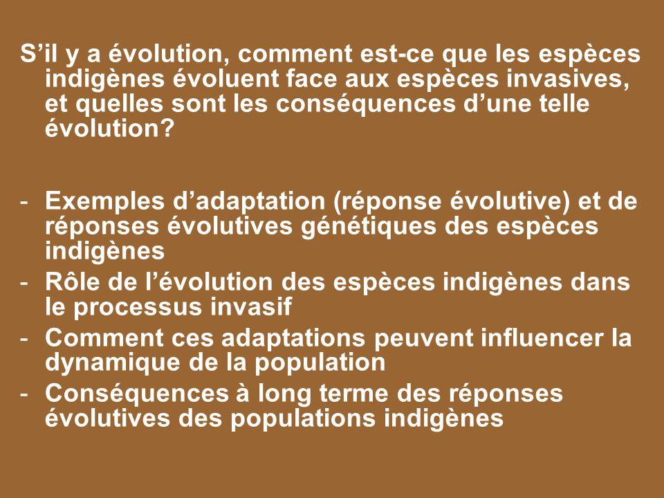 Sil y a évolution, comment est-ce que les espèces indigènes évoluent face aux espèces invasives, et quelles sont les conséquences dune telle évolution
