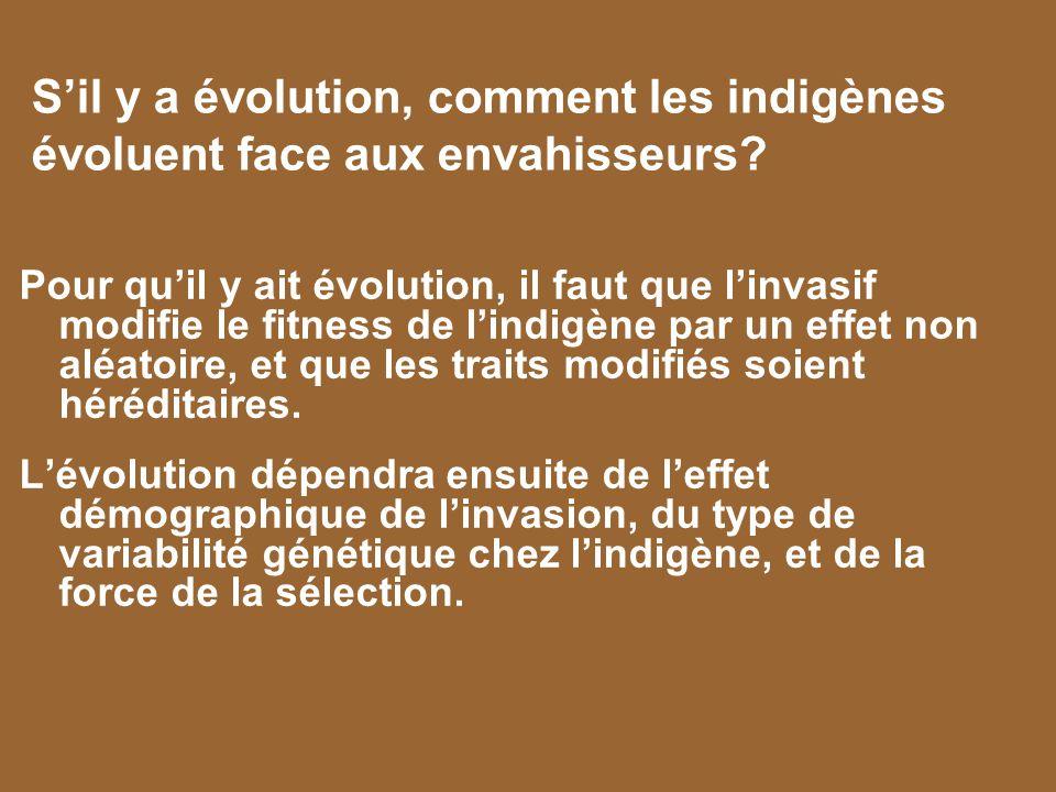 Sil y a évolution, comment les indigènes évoluent face aux envahisseurs? Pour quil y ait évolution, il faut que linvasif modifie le fitness de lindigè