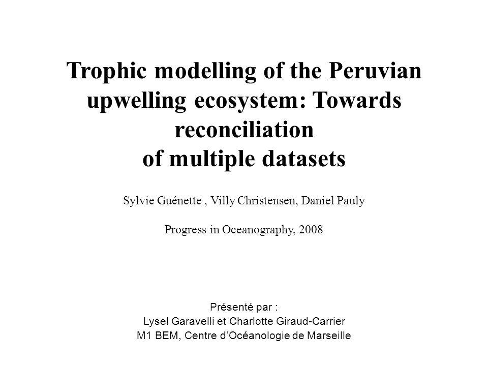 But de la publication Construire un modèle de lécosystème de lupwelling du Pérou grâce au logiciel Ecopath avec Ecosim, en reproduisant les séries de données de 1953 à 1984.