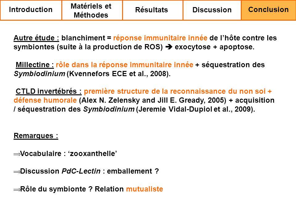 Autre étude : blanchiment = réponse immunitaire innée de lhôte contre les symbiontes (suite à la production de ROS) exocytose + apoptose.