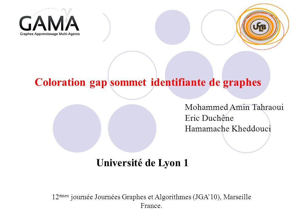 Coloration gap sommet identifiante de graphes 12 èmes journée Journées Graphes et Algorithmes (JGA10), Marseille France. Mohammed Amin Tahraoui Eric D
