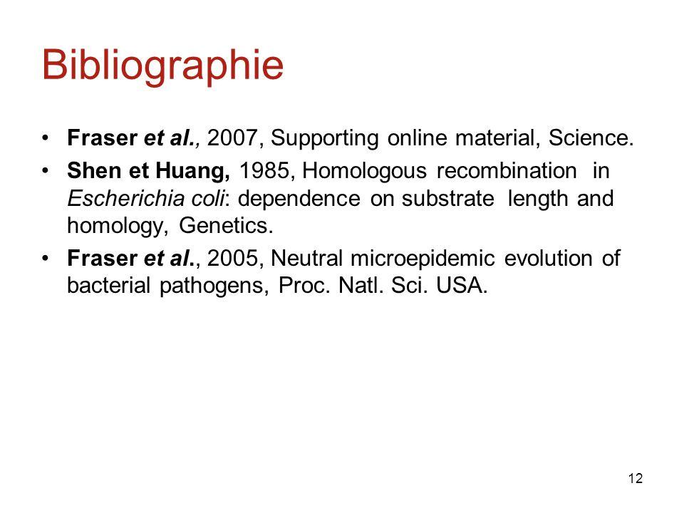 12 Bibliographie Fraser et al., 2007, Supporting online material, Science.