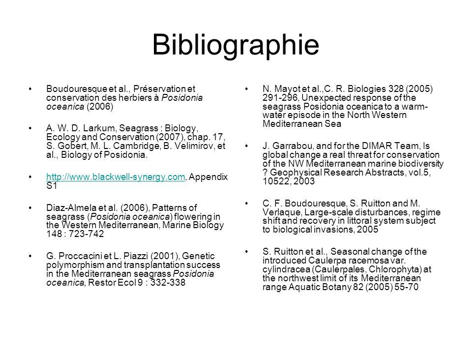 Bibliographie Boudouresque et al., Préservation et conservation des herbiers à Posidonia oceanica (2006) A. W. D. Larkum, Seagrass : Biology, Ecology