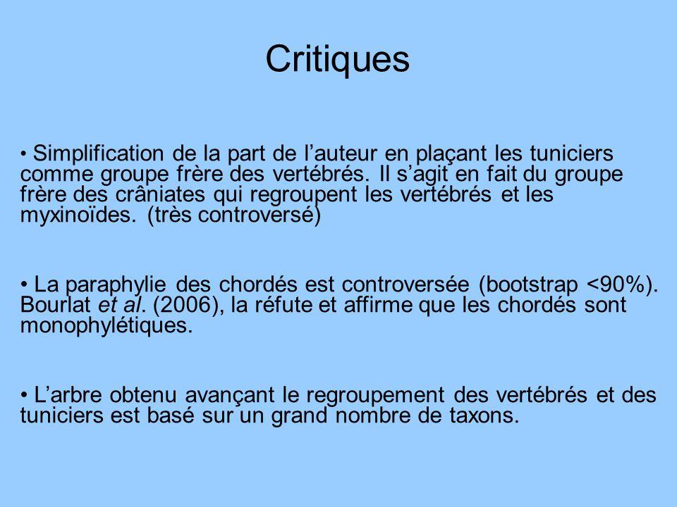 Critiques Simplification de la part de lauteur en plaçant les tuniciers comme groupe frère des vertébrés. Il sagit en fait du groupe frère des crâniat