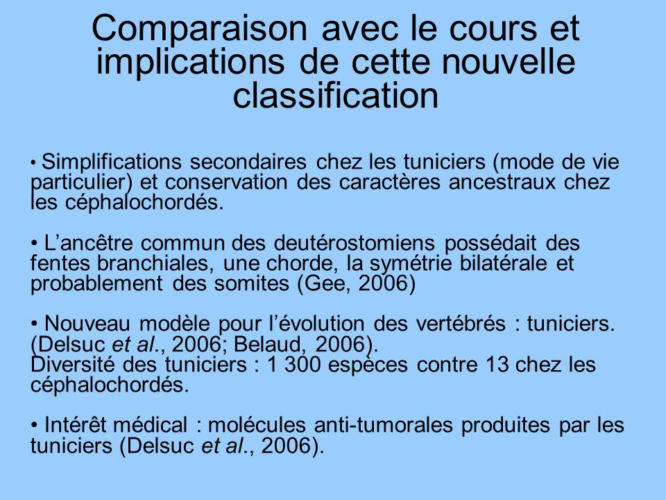 Comparaison avec le cours et implications de cette nouvelle classification Simplifications secondaires chez les tuniciers (mode de vie particulier) et