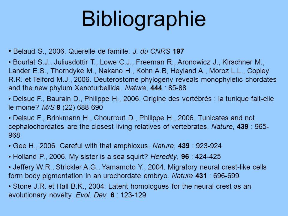 Bibliographie Belaud S., 2006. Querelle de famille. J. du CNRS 197 Bourlat S.J., Juliusdottir T., Lowe C.J., Freeman R., Aronowicz J., Kirschner M., L