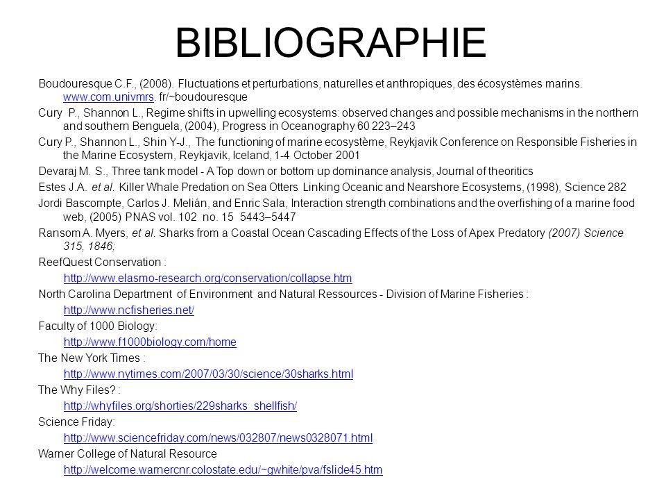 BIBLIOGRAPHIE Boudouresque C.F., (2008). Fluctuations et perturbations, naturelles et anthropiques, des écosystèmes marins. www.com.univmrs. fr/~boudo