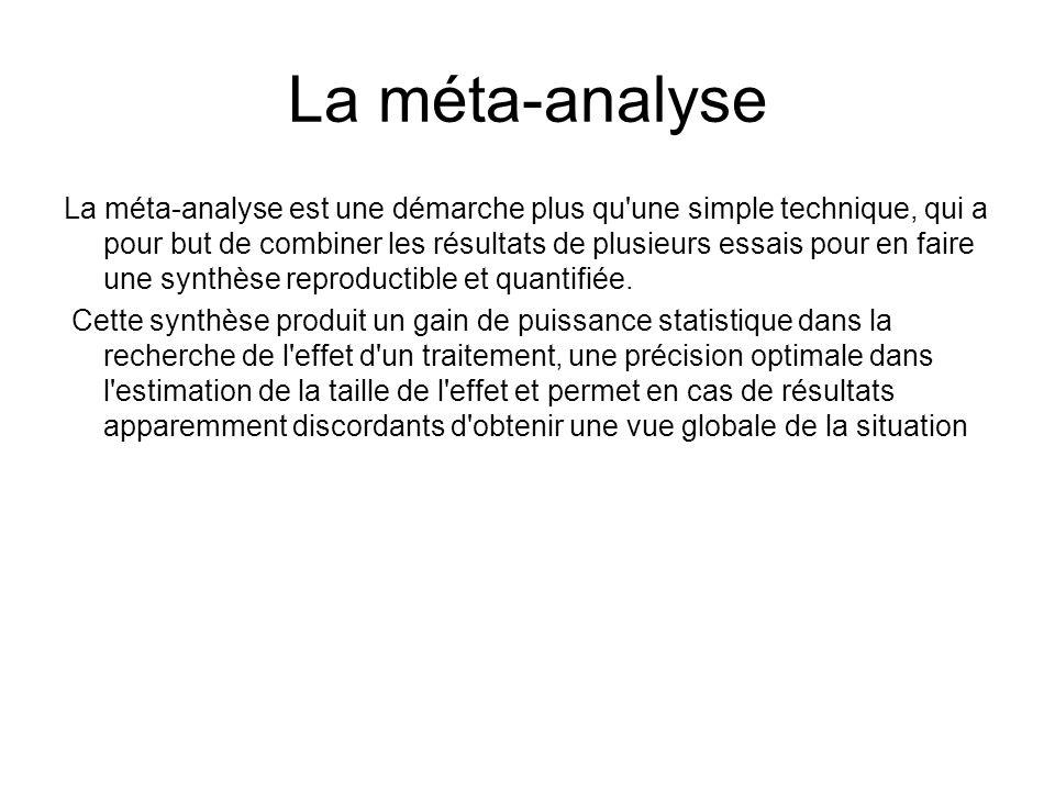 La méta-analyse La méta-analyse est une démarche plus qu'une simple technique, qui a pour but de combiner les résultats de plusieurs essais pour en fa