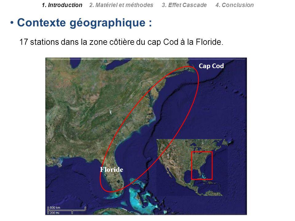 Contexte géographique : 17 stations dans la zone côtière du cap Cod à la Floride. Floride 1. Introduction 2. Matériel et méthodes 3. Effet Cascade 4.