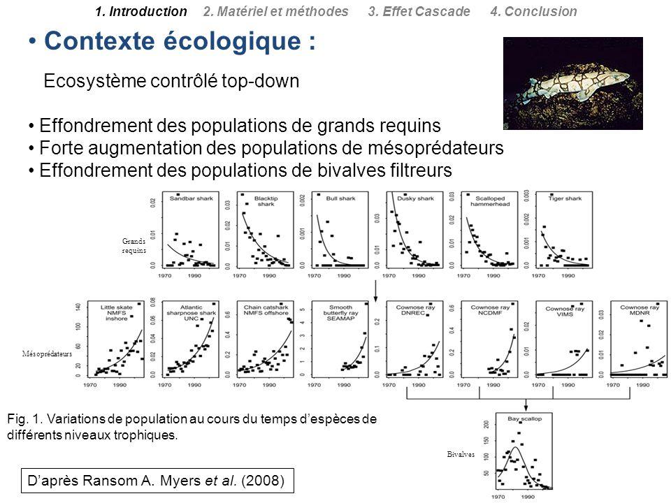 Contexte écologique : Ecosystème contrôlé top-down Effondrement des populations de grands requins Forte augmentation des populations de mésoprédateurs