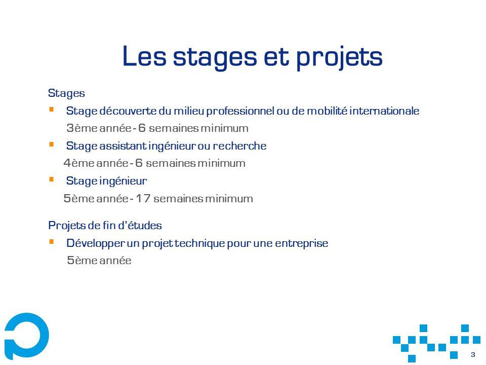 3 Les stages et projets Stages Stage découverte du milieu professionnel ou de mobilité internationale 3ème année - 6 semaines minimum Stage assistant