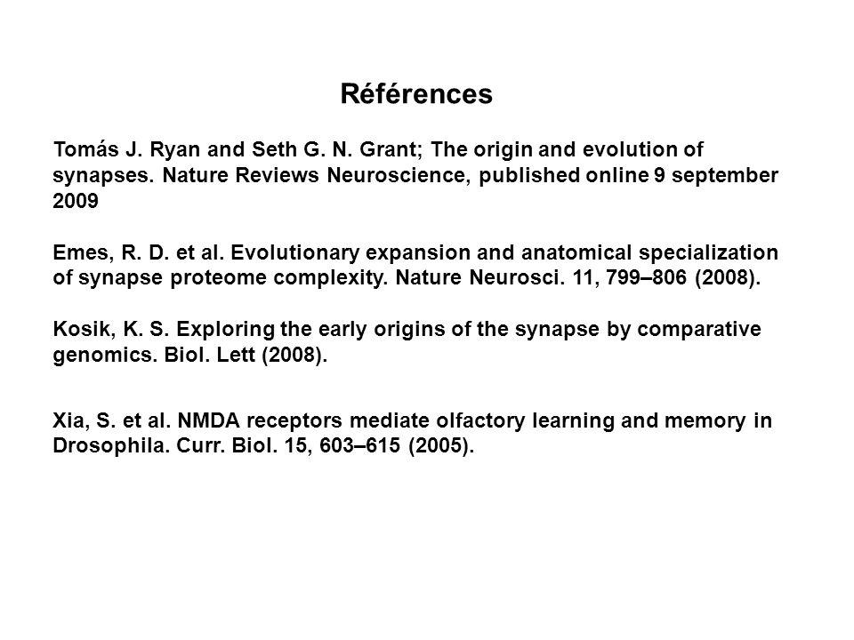 Références Tomás J.Ryan and Seth G. N. Grant; The origin and evolution of synapses.
