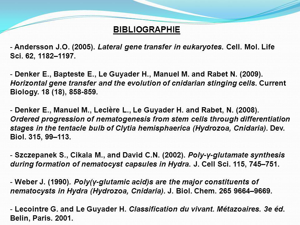 BIBLIOGRAPHIE - Andersson J.O.(2005). Lateral gene transfer in eukaryotes.