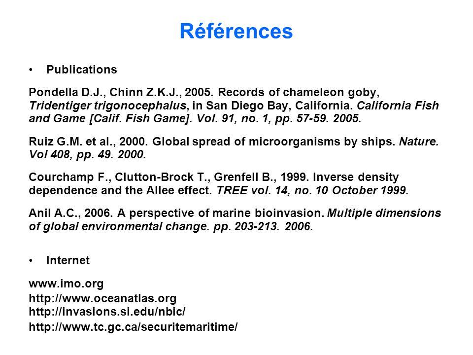 Références Publications Pondella D.J., Chinn Z.K.J., 2005. Records of chameleon goby, Tridentiger trigonocephalus, in San Diego Bay, California. Calif