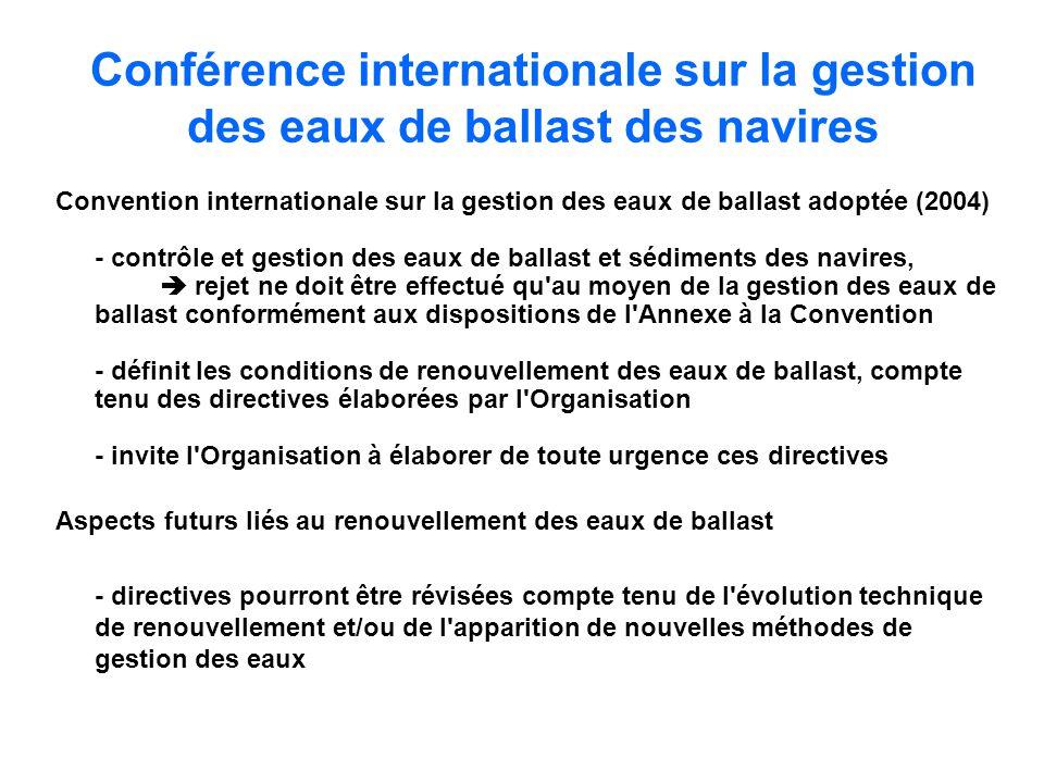 Conférence internationale sur la gestion des eaux de ballast des navires Convention internationale sur la gestion des eaux de ballast adoptée (2004) -