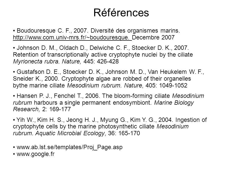 www.ab.lst.se/templates/Proj_Page.asp www.google.fr Références Boudouresque C. F., 2007. Diversité des organismes marins. http://www.com.univ-mrs.fr/~