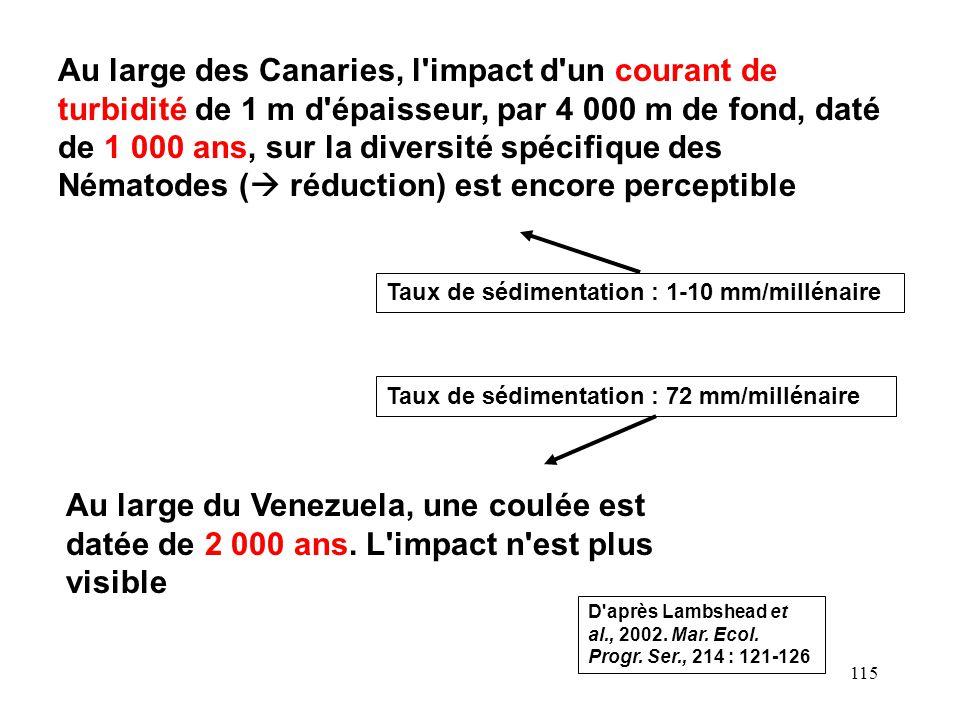 115 Au large des Canaries, l impact d un courant de turbidité de 1 m d épaisseur, par 4 000 m de fond, daté de 1 000 ans, sur la diversité spécifique des Nématodes ( réduction) est encore perceptible Au large du Venezuela, une coulée est datée de 2 000 ans.