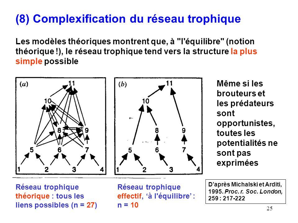 25 (8) Complexification du réseau trophique Les modèles théoriques montrent que, à l équilibre (notion théorique !), le réseau trophique tend vers la structure la plus simple possible Daprès Michalski et Arditi, 1995.