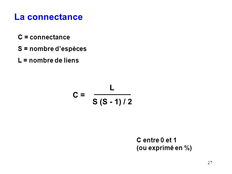 27 La connectance C = connectance S = nombre despèces L = nombre de liens L S (S - 1) / 2 C = C entre 0 et 1 (ou exprimé en %)