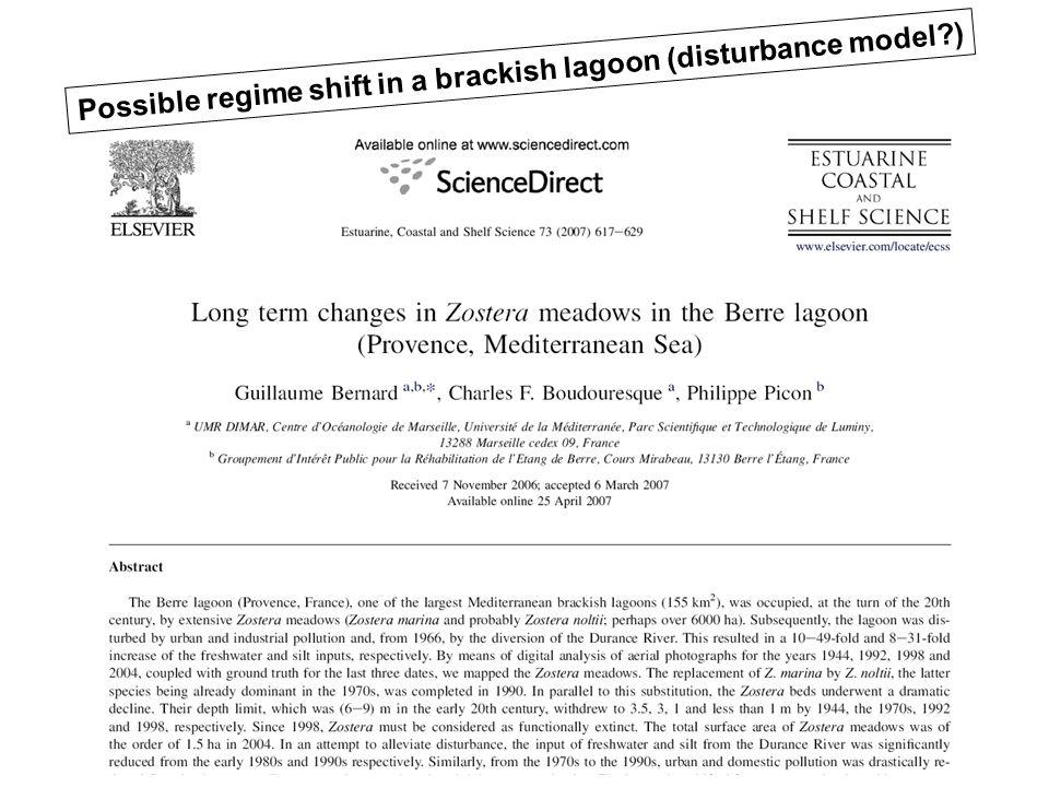 Possible regime shift in a brackish lagoon (disturbance model?)