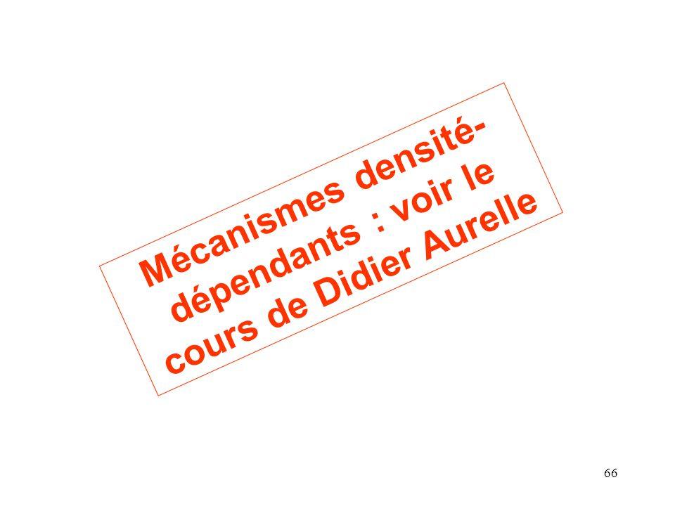 66 Mécanismes densité- dépendants : voir le cours de Didier Aurelle