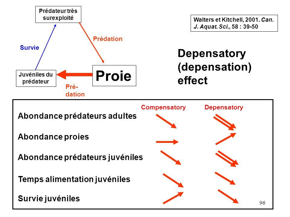 96 Prédateur très surexploité Proie Juvéniles du prédateur Survie Prédation Pré- dation Depensatory (depensation) effect Abondance prédateurs adultes