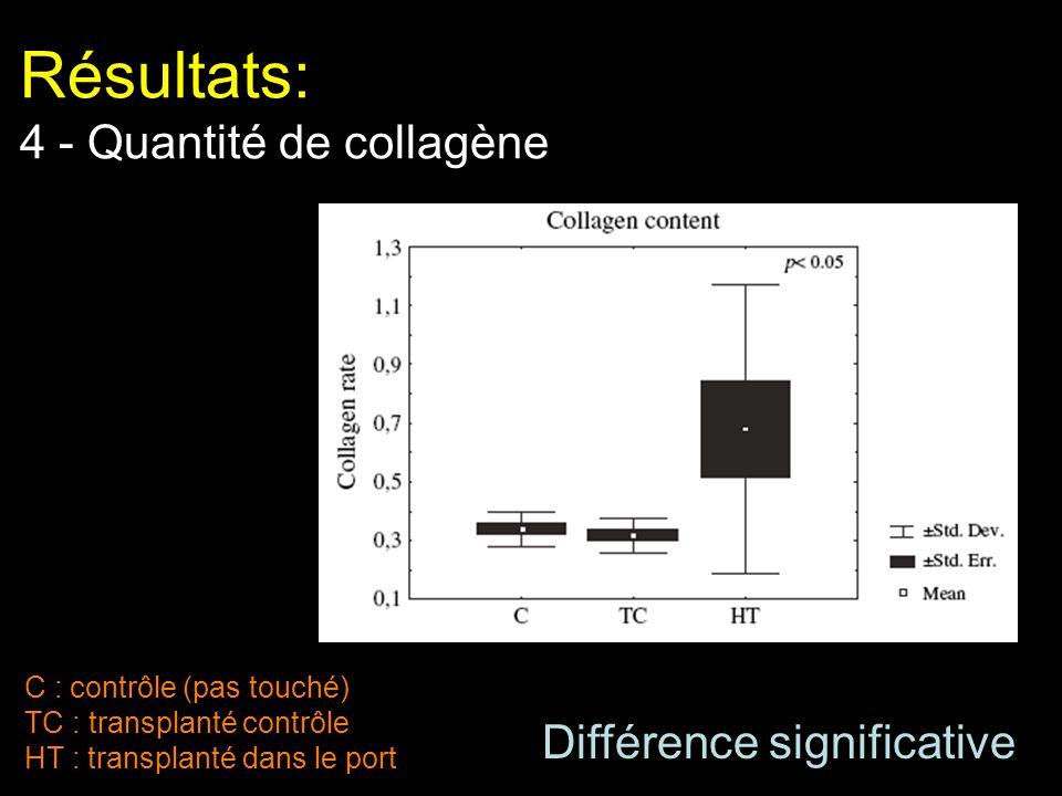 Résultats: 4 - Quantité de collagène C : contrôle (pas touché) TC : transplanté contrôle HT : transplanté dans le port Différence significative