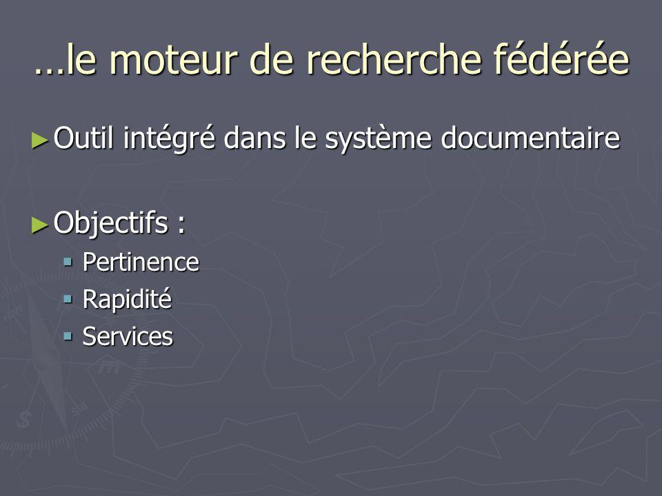 …le moteur de recherche fédérée Outil intégré dans le système documentaire Outil intégré dans le système documentaire Objectifs : Objectifs : Pertinence Pertinence Rapidité Rapidité Services Services