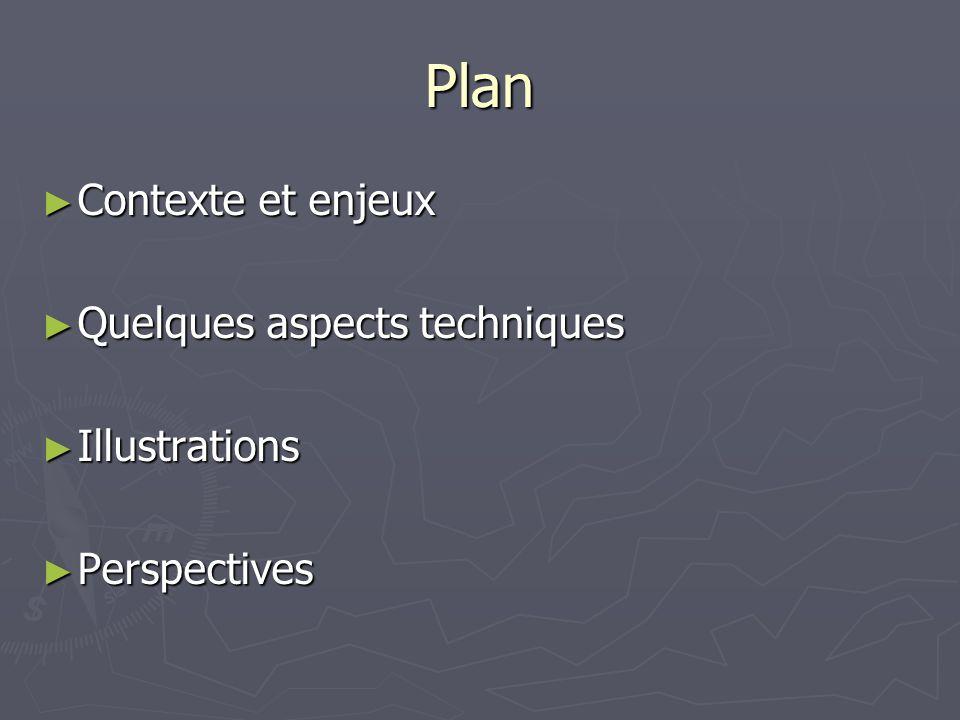 Plan Contexte et enjeux Contexte et enjeux Quelques aspects techniques Quelques aspects techniques Illustrations Illustrations Perspectives Perspectives