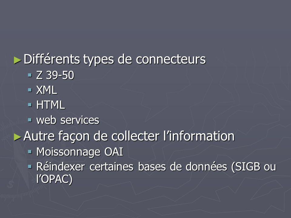 Différents types de connecteurs Différents types de connecteurs Z 39-50 Z 39-50 XML XML HTML HTML web services web services Autre façon de collecter linformation Autre façon de collecter linformation Moissonnage OAI Moissonnage OAI Réindexer certaines bases de données (SIGB ou lOPAC) Réindexer certaines bases de données (SIGB ou lOPAC)