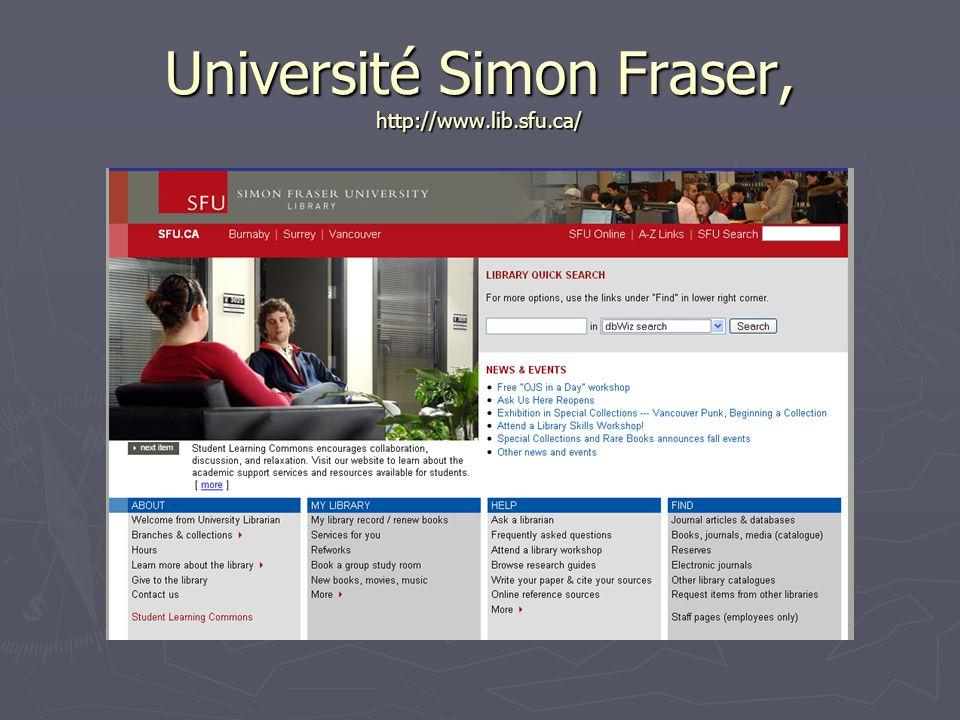 Université Simon Fraser, http://www.lib.sfu.ca/