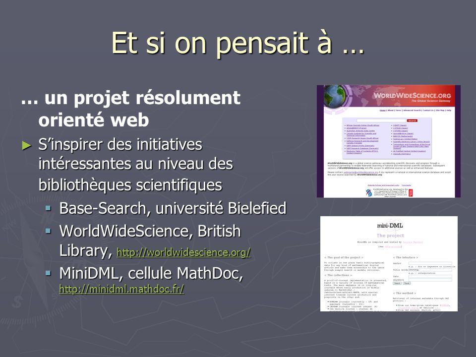 Et si on pensait à … … un projet résolument orienté web Sinspirer des initiatives intéressantes au niveau des bibliothèques scientifiques Sinspirer des initiatives intéressantes au niveau des bibliothèques scientifiques Base-Search, université Bielefied Base-Search, université Bielefied WorldWideScience, British Library, http://worldwidescience.org/ WorldWideScience, British Library, http://worldwidescience.org/ http://worldwidescience.org/ MiniDML, cellule MathDoc, http://minidml.mathdoc.fr/ MiniDML, cellule MathDoc, http://minidml.mathdoc.fr/ http://minidml.mathdoc.fr/