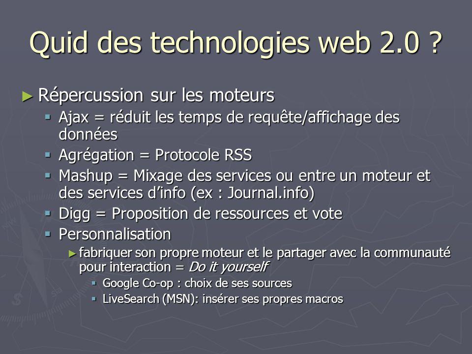 Quid des technologies web 2.0 .