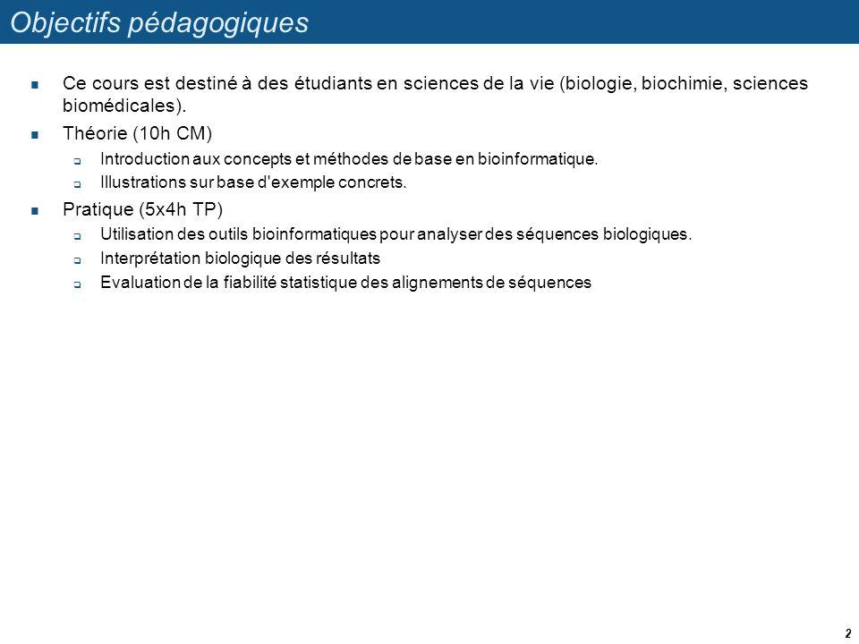Objectifs pédagogiques Ce cours est destiné à des étudiants en sciences de la vie (biologie, biochimie, sciences biomédicales). Théorie (10h CM) Intro