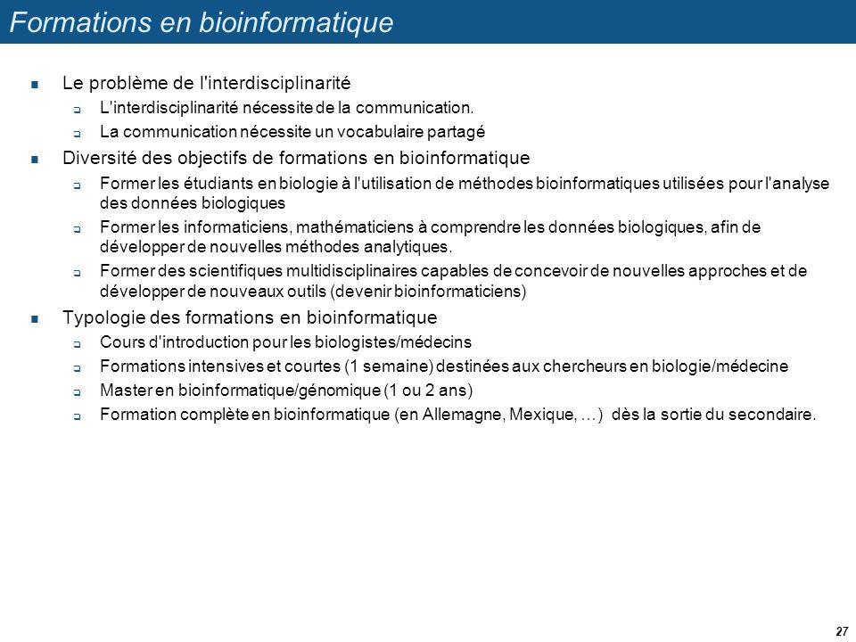 Formations en bioinformatique Le problème de l'interdisciplinarité L'interdisciplinarité nécessite de la communication. La communication nécessite un