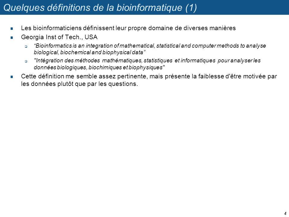 Quelques définitions de la bioinformatique (1) Les bioinformaticiens définissent leur propre domaine de diverses manières Georgia Inst of Tech., USA B