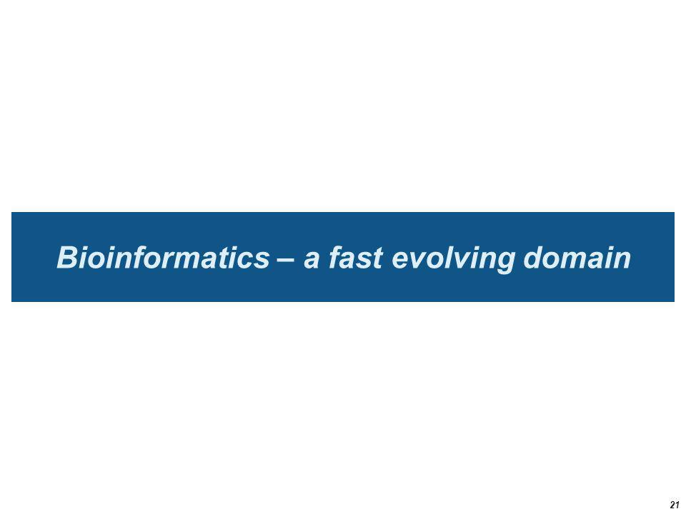 Bioinformatics – a fast evolving domain 21