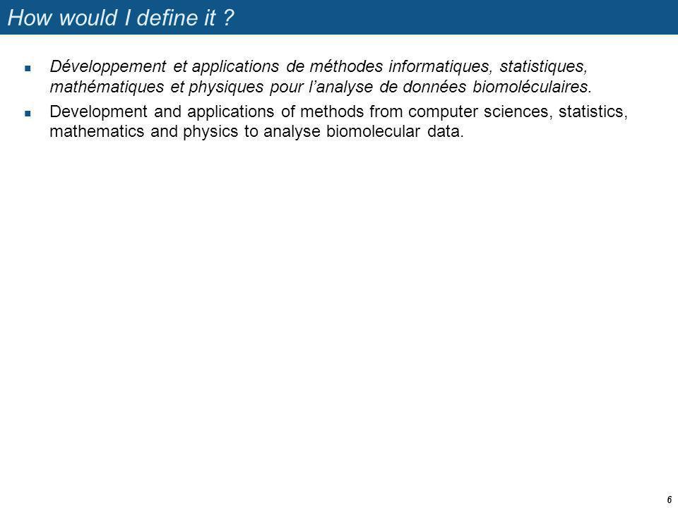Bioinformatics – what for ? La bioinformatique – pour quoi faire ? 7